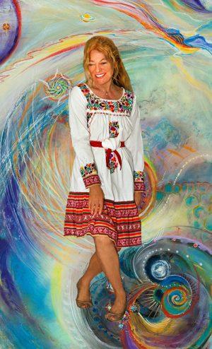 Artist Uta Ushana, Background image: From the artist's oil painting: